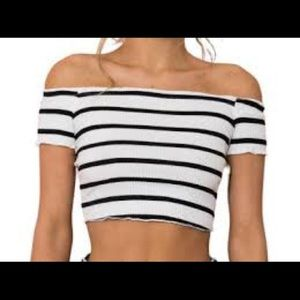 2/40$$ Small Forever 21 Nautical Striped Crop Top
